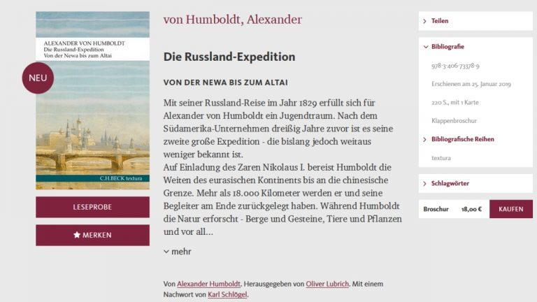 Alexander von Humboldt Russland-Expedition